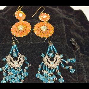 Earrings set Blue glass